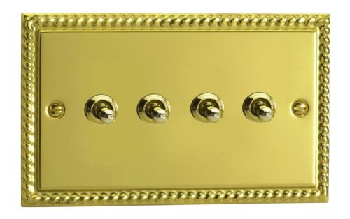 Varilight XGT9 Georgian Polished Brass 4 Gang 10A 1 or 2 Way Toggle Light Switch